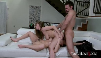 Blonde whore in stockings riding a giant ebony meatstick